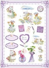 Декупажна хартия - Мишлета и цветя
