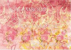 Декупажна хартия - Розови и жълти орнаменти 25