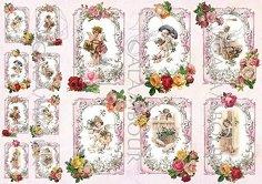 "Декупажна хартия - Ангели и рози 264 - Серия ""Digital Collection Mulberry"""