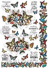 """Декупажна хартия - Пеперуди и надписи 293 - Серия """"Digital Collection Mulberry"""""""