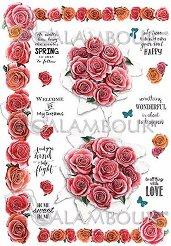 Декупажна хартия - Рози и надписи 296