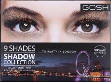 Gosh 9 Shades to Party in London - Палитра с 9 цвята сенки за очи - гланц