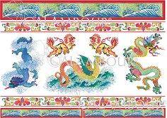 """Декупажна хартия - Китайски дракони и декорации 77 - Серия """"Digital Collection Mulberry"""""""