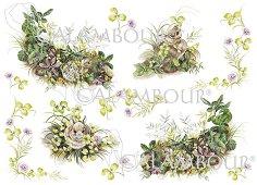 "Декупажна хартия - Зайчета 91 - Серия ""Digital Collection Mulberry"""