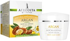 Afrodita Cosmetics Natural Anti-Age Care Argan Night Cream - Нощен крем за лице против бръчки с арганово масло -