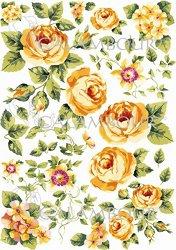 Декупажна хартия - Жълти рози 10