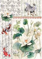 Декупажна хартия - Бял лотос 21 - Размери 33 x 48 cm