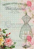 """Декупажна хартия - Манекен и рози 001 - Формат A4 от серията """"Petite"""""""