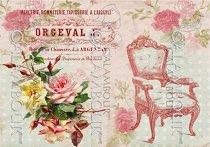 Декупажна хартия - Старинен стол и рози 002