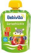 Bebivita - Забавна плодова закуска с градински плодове - Опаковка от 90 g за бебета над 12 месеца -