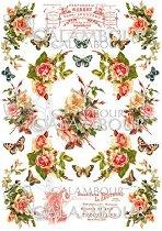 """Декупажна хартия - Рози и пеперуди 003 - Формат A4 от серията """"Petite"""""""