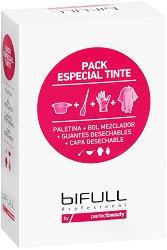 Комплект за боядисване - Bifull Profesional - Купичка, четка, ръкавици и пелерина - сапун
