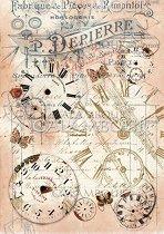 """Декупажна хартия - Стари часовници 008 - Формат A4 от серията """"Petite"""""""