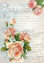 """Декупажна хартия - Старо писмо и рози 009 - Формат A4 от серията """"Petite"""""""