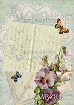 """Декупажна хартия - Писмо, цветя и пеперуди 010 - Формат A4 от серията """"Petite"""""""