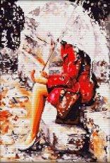 Мелодия на дъжда - Комплект за декориране с камъчета с размери 30 x 40 cm