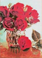 Ваза с рози - Комплект за декориране с камъчета с размери 30 x 40 cm