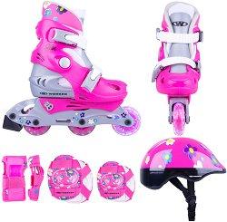 Детски ролери със светещи колела - Polly - В комплект с протектори и каска -
