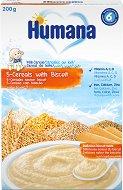 Humana - Инстантна млечна каша: 5 Зърна с бисквити - Опаковка от 200 g за бебета над 6 месеца -