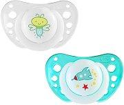 Флуоресцентни ортодонтични силиконови залъгалки с кутийка - Physio Air Night - Комплект от 2 броя за бебета над 12 месеца - продукт