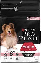 Purina Pro Plan Optiderma Salmon Medium Sensitive Skin Adult - Суха храна със сьомга за кучета с чувствителна кожа от средни породи на възраст над 1 година - чували от 3 kg и 14 kg -