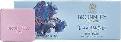"Bronnley Iris & Wild Cassis Three Soaps - Комплект от 3 броя луксозни сапуни от серията ""Iris & Wild Cassis"" - сапун"
