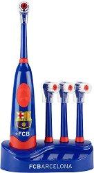 Детска електрическа четка за зъби - ФК Барселона - С допълнителни 3 резервни миещи глави и стойка - детски аксесоар