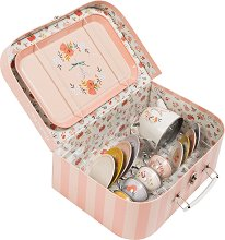 Метален сервиз за чай - Les Parisiennes - Детски комплект за игра в куфарче - кукла