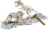 """Открий и реконструирай светещ скелет на Тиранозавър Рекс и Трицератопс - Образователен комплект от серията """"Clementoni: Science"""" -"""