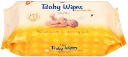 """Event Baby Wipes Moisturising - Бебешки мокри кърпички с лайка в опаковка от 90 броя от серията """"Baby"""" - продукт"""