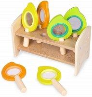 Детски дървени лупи - Комплект от 6 броя в поставка -