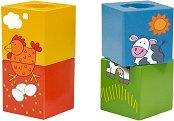 Животни - Комплект дървени кубчета -