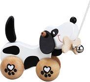 Куче - Дървена играчка за дърпане - топка