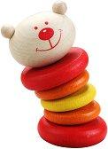 Дрънкалка - Мече - Бебешка дървена играчка -