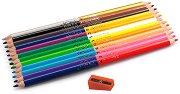 Двувърхи цветни моливи - Комплект от 12 броя с острилка