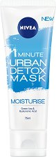 Nivea 1 Minute Urban Detox Mask Moisturise - Детоксикираща и хидратираща маска за лице със зелен чай и хиалуронова киселина - крем