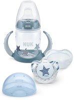 Комплект с преходна чаша, залъгалка и кутия за залъгалка - За бебета от 6 до 18 месеца -