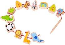 Зоологическа градина - Дървена играчка за нанизване - играчка