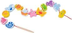 Морски обитатели - Дървена играчка за нанизване -