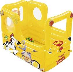 Надуваем автобус - Комплект с 20 цветни топки за игра - играчка