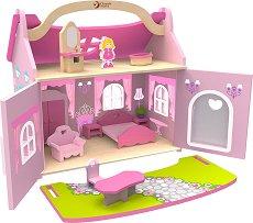 Дървена къща за кукли - Принцеса - Комплект с аксесоари -