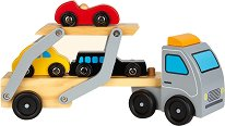 Автовоз с 3 колички - Дървена играчка -