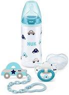Комплект с шише за хранене, залъгалка и клипс за залъгалка - Със силиконов биберон за бебета от 0+ до 6 месеца -