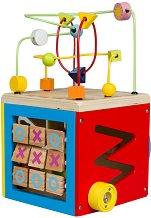 Дидактически дървен куб - Лабиринт - играчка