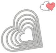 Щанци за машина за изрязване и релеф - Сърца - Комплект от 6 броя с ширина от 2.2 до 11.4 cm
