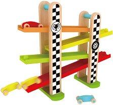 Дървена състезателна писта - Комплект с 3 колички - продукт