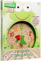 Часовник Жабка - Дръвена образователна играчка -