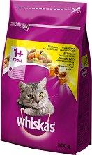 Whiskas Dry Chicken 1+ Years - Суха храна с пилешко месо за котки на възраст над 1 година - чували от 300 g ÷ 14 kg -