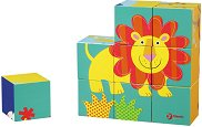 Дървени кубчета - Животни - Комплект от 9 части - играчка