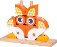 Кубчета за нанизване - Детска дървена играчка -